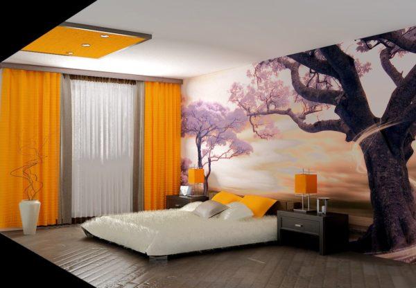 оригинальная спальня с рисунком на стене