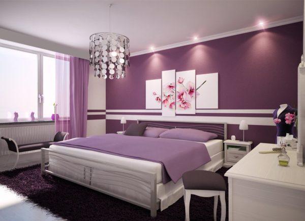 красивый дизайн картины в спальне
