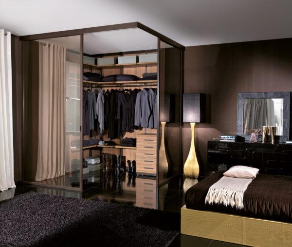 оригинальный дизайн гардеробной в спальне