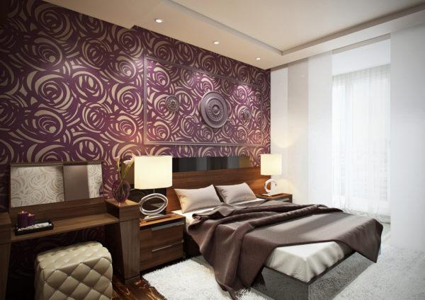 оригинальный дизайн интерьера спальни в стиле модерн