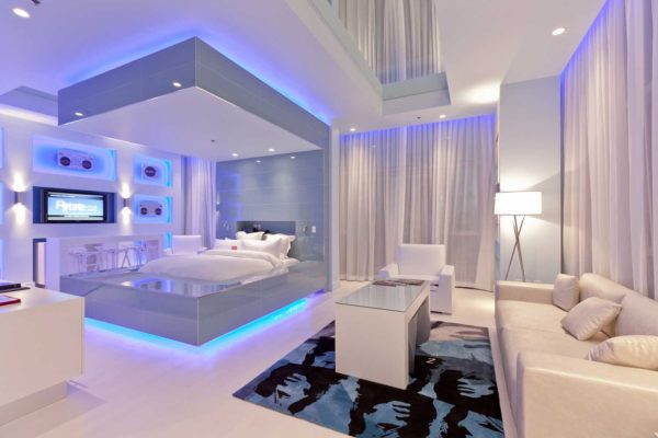 освещение в спальне хай-тек стиля