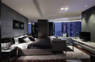 просторная спальня в стиле хай-тек