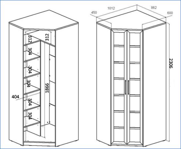 размеры для небольшого шкафа-купе