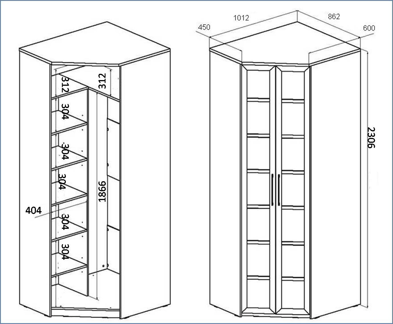 Как сделать угловой шкаф своими руками схемы чертежи фото