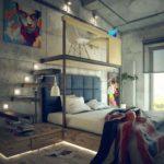 решение для спальни в стиле лофт