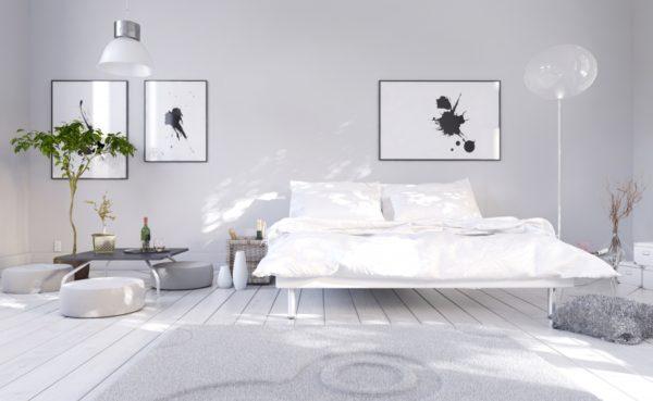 оформление картины в спальне
