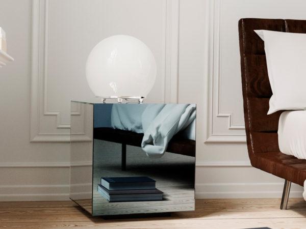 современное оформление прикроватной тумбы в спальне