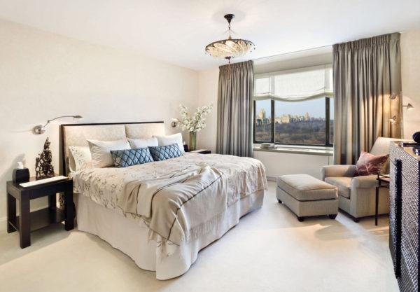современное оформление штор в спальне