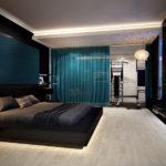 шикарный интерьер спальни в хай-тек стиле