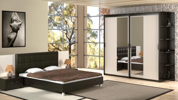 шкаф-купе в просторной спальне с зеркалом