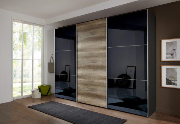 шкаф-купе в спальню с двойным зеркалом