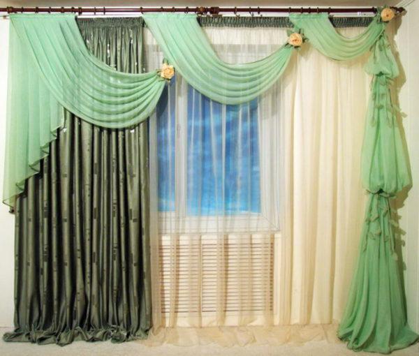 шторы с оригинальным дизайном в зеленом цвете