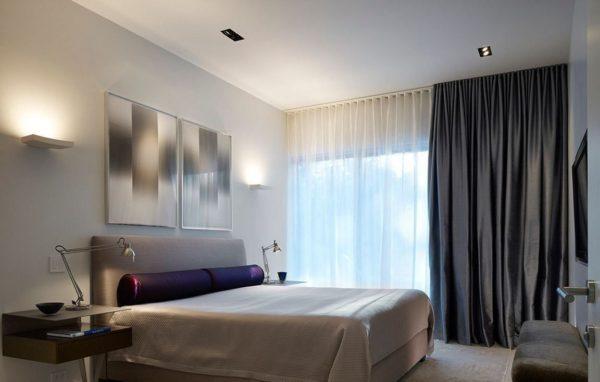шторы в спальню хай-тек стиль