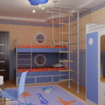 традиционная светлая детская спальня