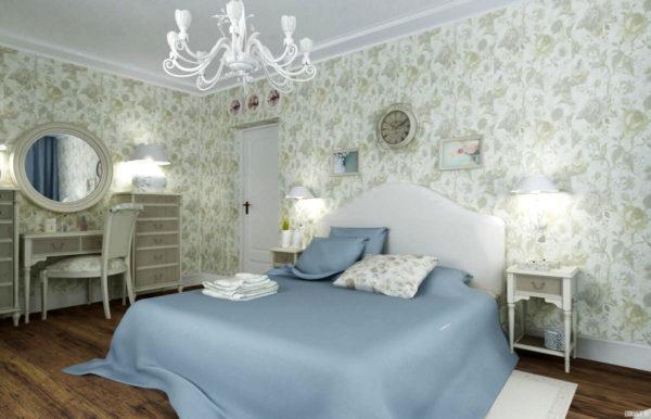 современная спальня в светлых тонах в стиле прованс