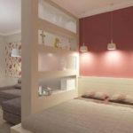 необычный интерьер маленькой спальни