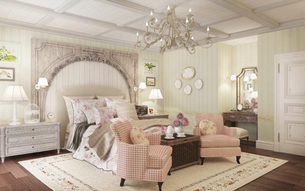 современная светлая спальня в стиле прованс