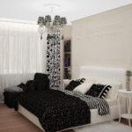 современная светлая маленькая спальня