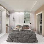 современная светлая спальня в скандинавском стиле