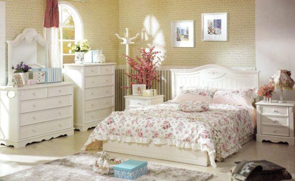 современное оформление спальни в стиле прованс