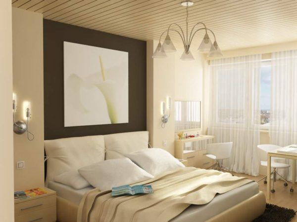 светлый интерьер небольшой спальни