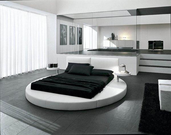спальня в стиле хай тек круглая кровать