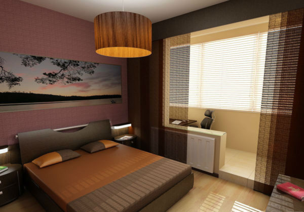спальня и лоджия с занавесками