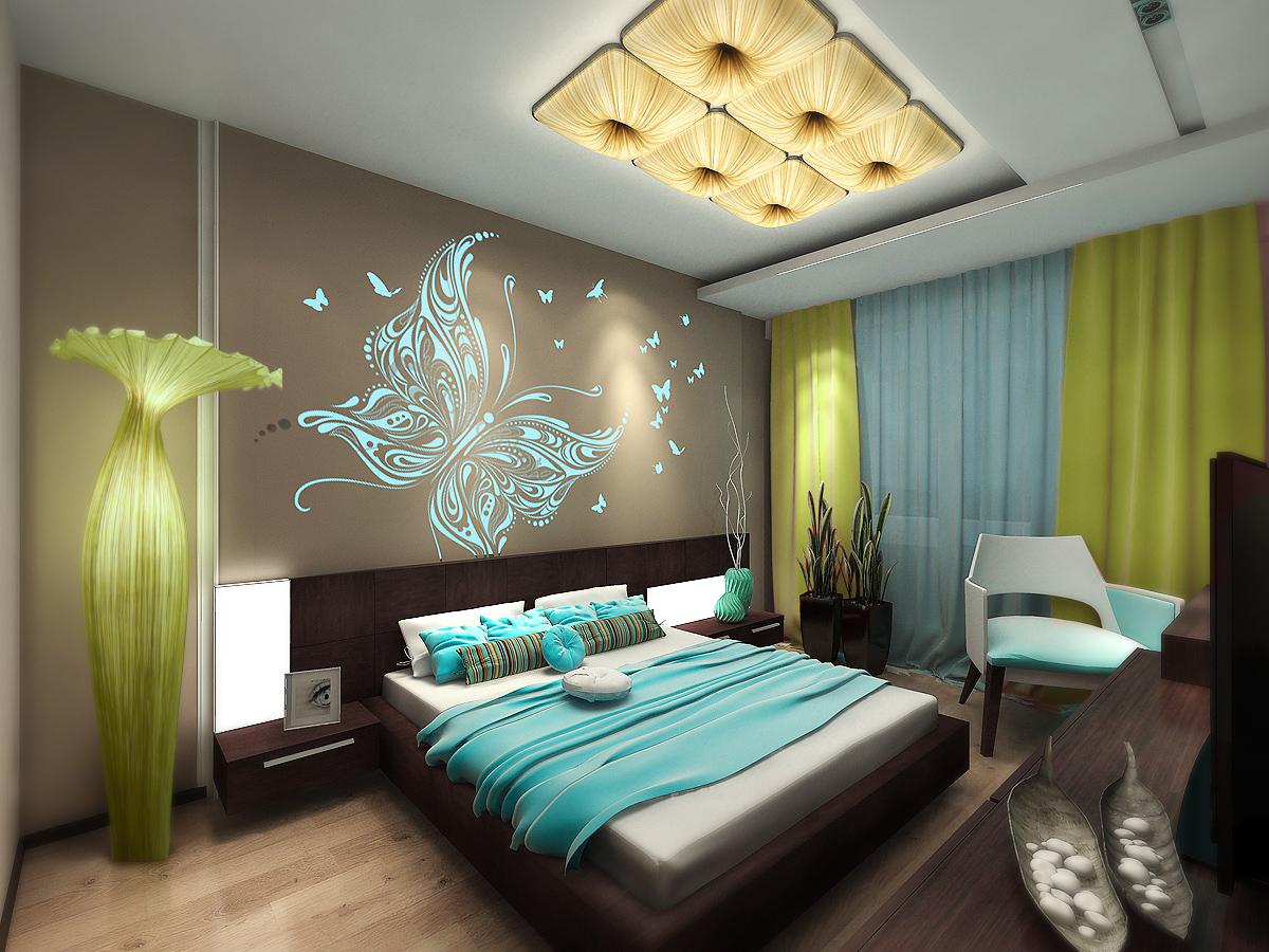Спальня с душевным интерьером и светящейся стеной