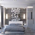 спальня в современном дизайне с применением фактур