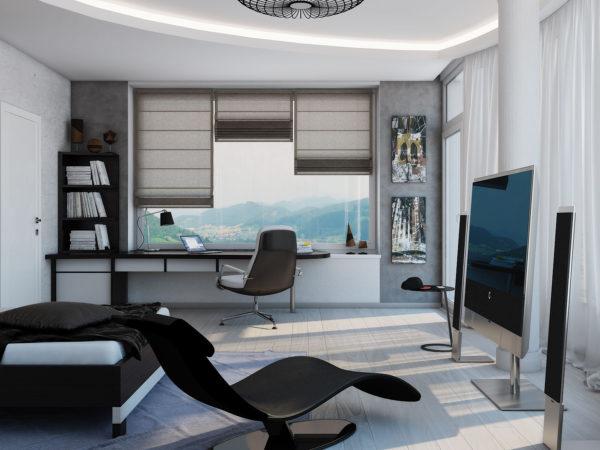 спальня в стиле хай-тек как рабочее место
