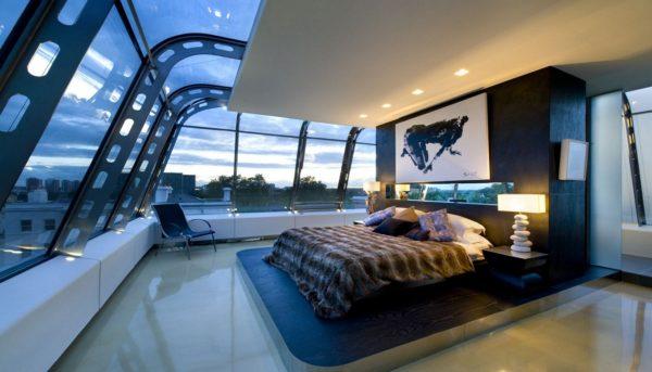 фото спальни в стиле хай-тек под небом
