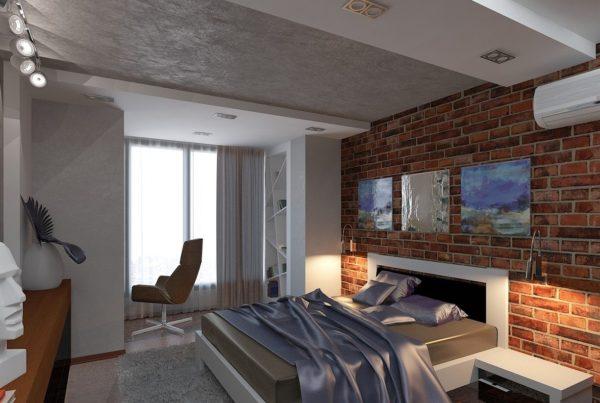 спальня в стиле лофт для небольшого помещения