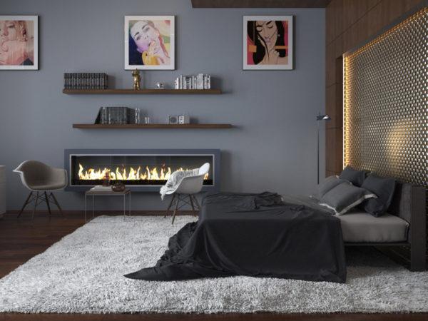 спальня в стиле модерн с камином