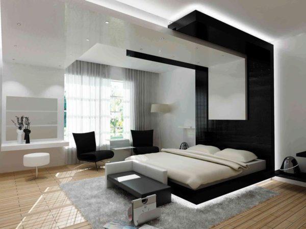 стиль хай-тек в спальне с оригинальным потолком