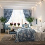 светлые шторы в интерьере спальне