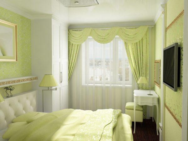 маленькая спальня в зеленых тонах
