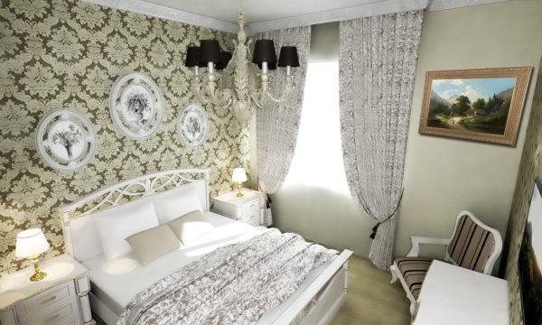 красивая спальня в классическом стиле