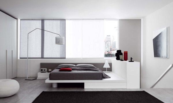 светлая спальня в стиле хай-тек