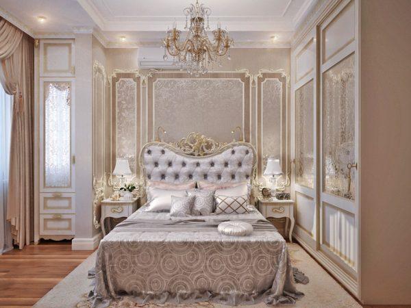современный интерьер спальни в классическом стиле