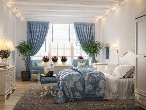 необычное оформление спальни в стиле прованс