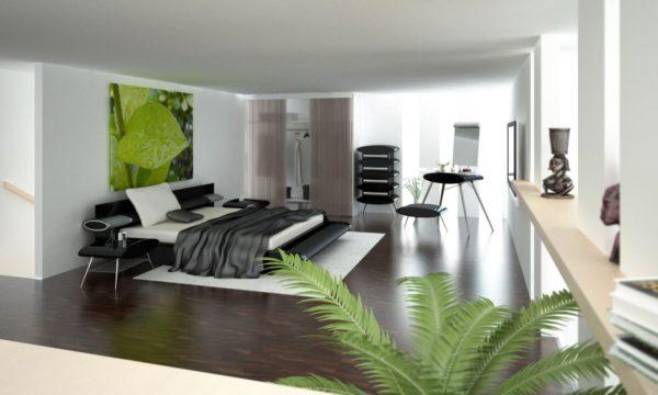 зонирование спальни в стиле модерн