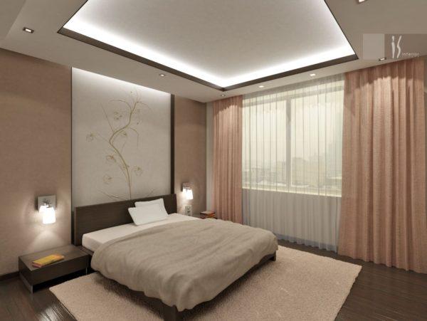 современный интерьер модной спальни
