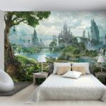 красивый необычный дизайн обоев для спальни
