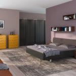 современное оформление мебели в спальне