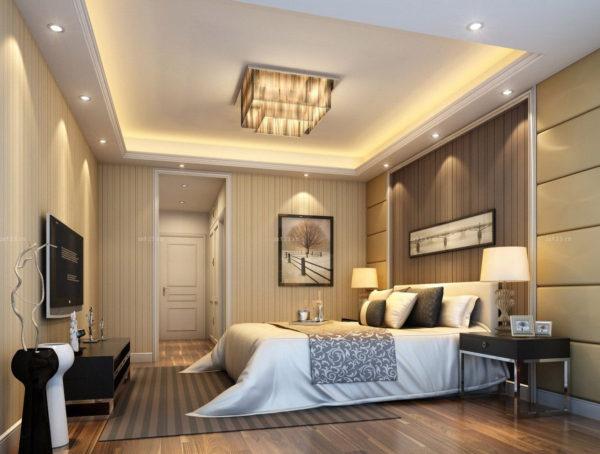 необычный интерьер спальни 2017