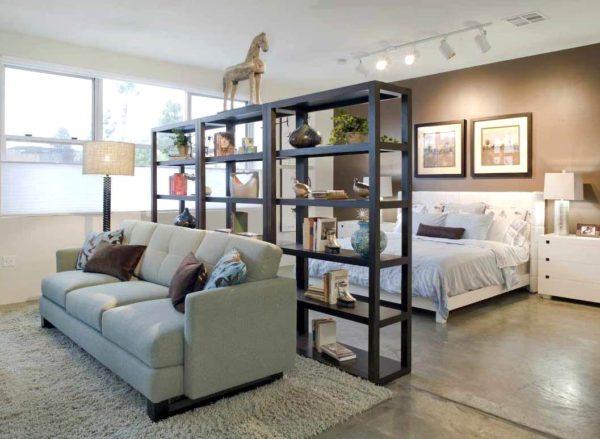 лаконичный дизайн спальни и гостиной