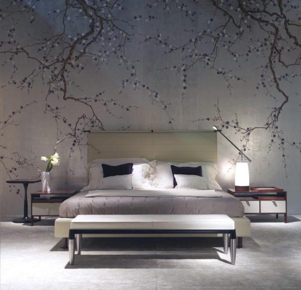 современный красивый дизайн обоев в спальне