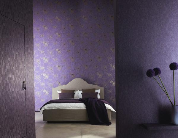 фото модных обоев в интерьере спальни