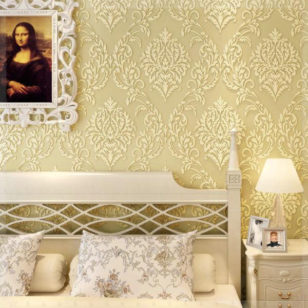 современные обои в интерьере спальни