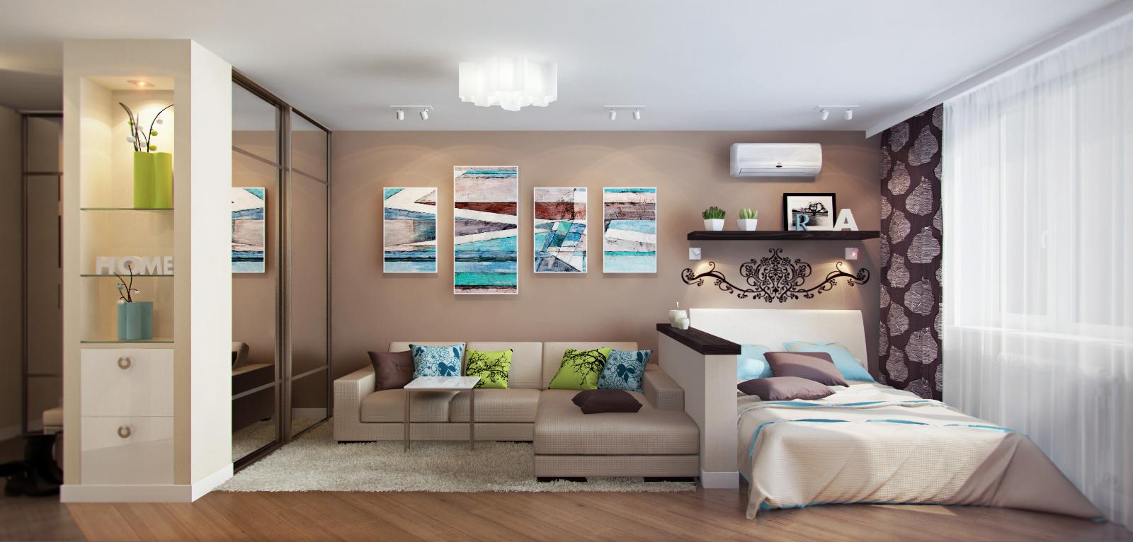 Дизайн комнаты на зоны спальню и гостиную